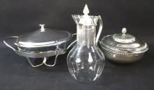 Vintage Glass / Silver Serving Dishes & Pitcher