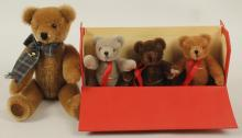 4 Vintage Teddy Bears - Merry Thought, Genuine Teddy