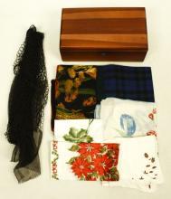 Lane Cedar Jewelry Box, Handkerchiefs and Scarves