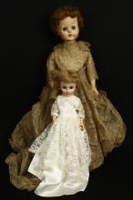 2 Vintage Porcelain Dolls - Bride, Sleepy Eye
