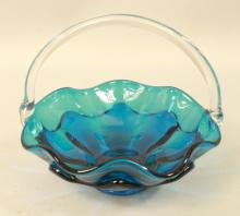 Blue Glass Fancy Basket