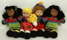 Four 1999 Anne Geddes Soft Knitted Body Dolls