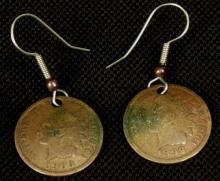 1899 &1903 Indian Head Coin Earrings