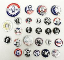 Lot of Presidential Pin Back Buttons Dewey, Taft - Reproductions