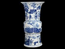 BLUE AND WHITE PORCELAIN GU VASE
