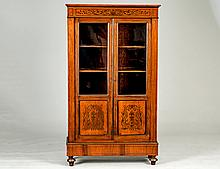 EMPIRE STYLE BRASS INLAID BOOKCASE CABINET