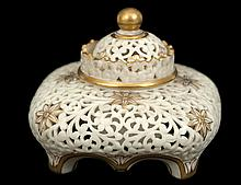 GRAINGER WORCESTER RETICULATED INKWELL AND COVER