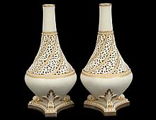 PAIR OF GRAINGER WORCESTER RETICULATED PORCELAIN VASES