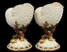 PAIR OF ROYAL WORCESTER PORCELAIN SHELLS