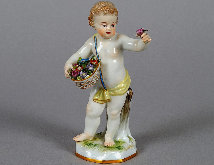 MEISSEN PORCELAIN FIGURE OF A PUTTO