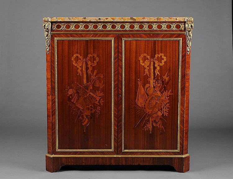 LOUIS XVI STYLE INLAID MAHOGANY SIDE CABINET