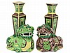 PAIR OF FAMILLE VERTE PORCELAIN FU LION VASES