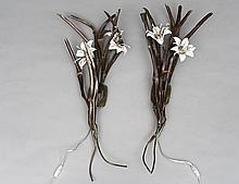 PAIR OF COPPER AND ENAMEL LILY SCONCES