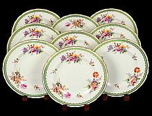 SET OF EIGHT ROYAL CROWN DERBY PORCELAIN CAKE PLATES