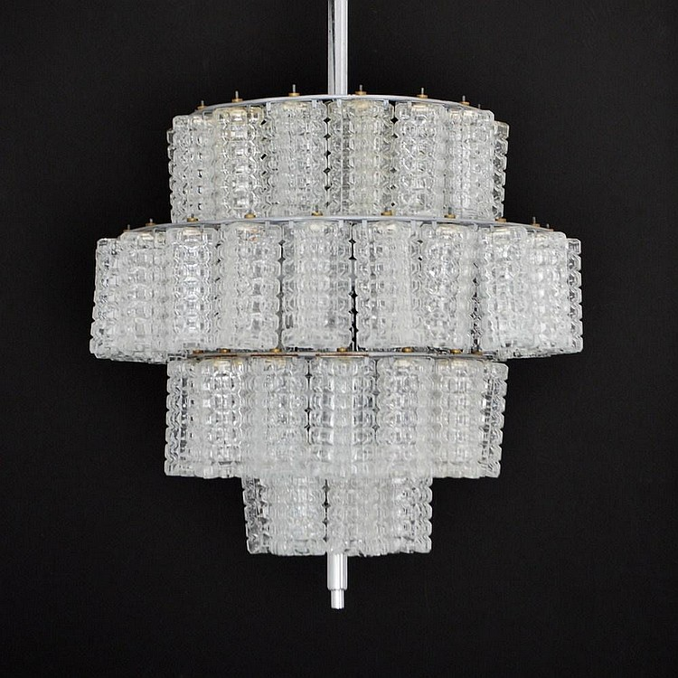 Large Murano Tiered Glass Chandelier