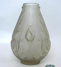Art Nouveau Etling Glass Vase, M. Perron, Ca 1920.