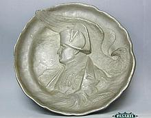 apoleon Pewter Plaque By Charles-Jean Desvergnes.