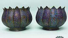 Pair Of Middle Eastern Enameled Brass Jardinieres.