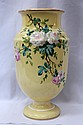 PAIR OF OPAL VASES IN YELLOW WITH FLOWER MOTIFS,