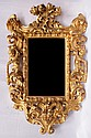 GOLD-PLATED WOODEN MIRROR WITH SPIRALS AND ANGELS,