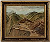 Original oil on canvas of a mining scene, likely Mexico or California