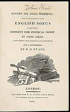 Essays on Song-Writing; with Collection of such English Songs as are most Eminent for Poetical Merit. A New Edition, with additions and corrections, and a supplement, by R.H. Evans