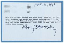 Typed Postcard Signed by Ray Bradbury, to a Mrs. Guy Calden, Jr., regarding his political affiliation