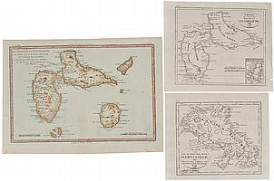 Three 18th and 19th century maps of the Caribbean - Martinique & Guadeloupe