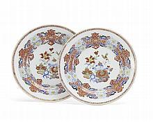 Par de pratos em porcelana Comp.Índias
