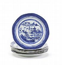 6 pratos em porcelana chinesa, Cantão