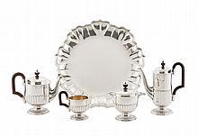 Tea and coffee set in Portuguese silver, Boar.