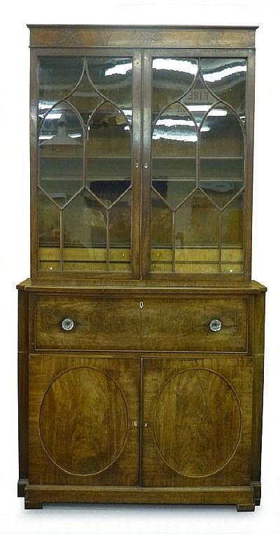 A Regency mahogany and strung secretaire bookcase,