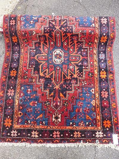 A small modern Hamadan rug, red ground, approx.