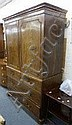 A George III mahogany linen press of two doors
