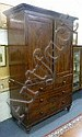 A Victorian mahogany linen press enclosed by a