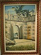 Oil on Canvas Miami Courtyard Signed KENT: