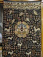 Signed French Tapestry Wall Hanging with Birds & Animals: