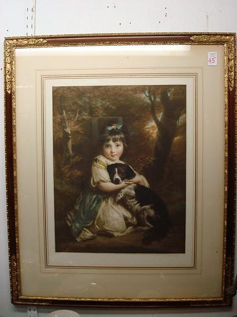 LOUIS BUSIERE Framed Mezzotint Girl with Dog