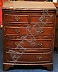 A reproduction mahogany small chest t/w oak brass
