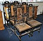 Set six Victorian Stuart style carved oak dining