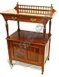 An Edwardian mahogany side cabinet with two tiers