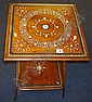 A mahogany 2 tier table with fine marquetry bone