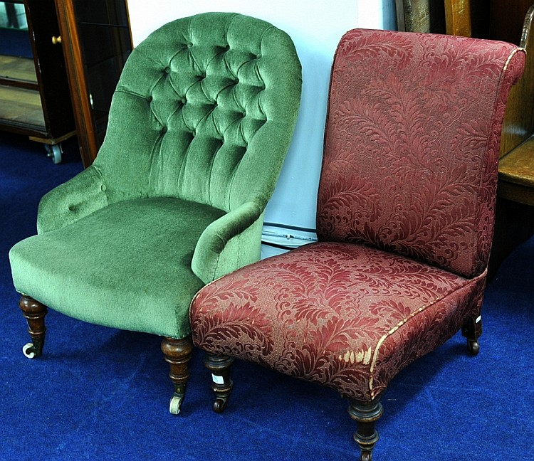 Two Edwardian upholstered nursing chairs
