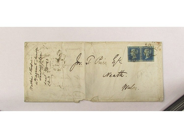 Letter dated 1 November 1843 affixed with block of