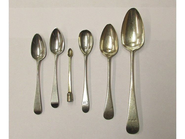 Two Georgian silver teaspoons date letter u no