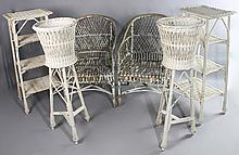 VINTAGE WICKER GROUP TO INCLUDE A PAIR OF ARM CHAIRS, PAIR OF PLANT STANDS, AND PAIR OF TALL WHAT-NOT STANDS