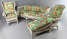 BAR HARBOR TURN OF THE CENTURY WICKER SOFA, CHAISE, AND ARMCHAIR WITH MAGAZINE RACK, ALL IN MATCHING FABRIC CUSHIONS