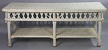 TURN OF THE CENTURY WICKER CONSOLE TABLE