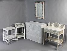 GROUP OF VINTAGE WHITE WICKER FURNITURE TO INCLUDE SIDE TABLE, STAND, DRESSER, VANITY, AND MIRROR