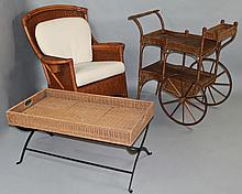 AN AMERICAN WICKER AND METAL BAR CART AND WICKER ROCKING CHAIR TOGETHER WITH A PATINATED WICKER AND IRON LOW TRAY TABLE